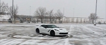 Supercharged 2014 Corvette Stingray Does Powdered Donuts [Video]