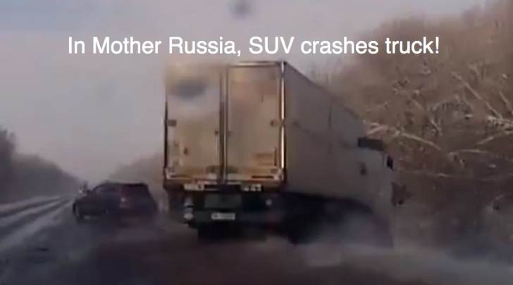 SUV Bullies Semi Truck Off Russian Road [Video]