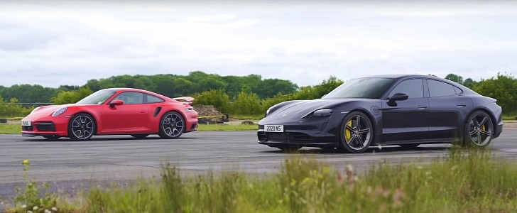 Taycan Turbo S vs. New 911 Turbo S Is the Best Porsche Drag Race Ever