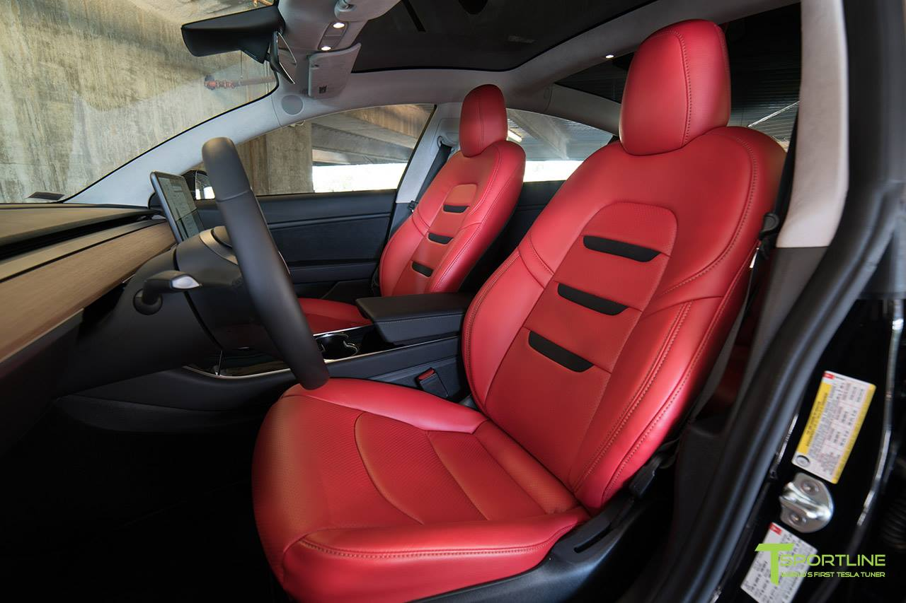 5 photos. T Sportline Tesla Model 3 Red Leather interior ...