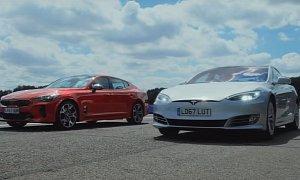 Tesla Model S 75D Demolishes Kia Stinger GT in Drag Race