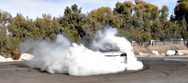 Tesla Model S Does The Quietest Burnout Ever [Video]