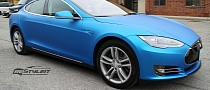 Tesla Model S Gets Matte Blue Aluminum Wrap [Photo Gallery]