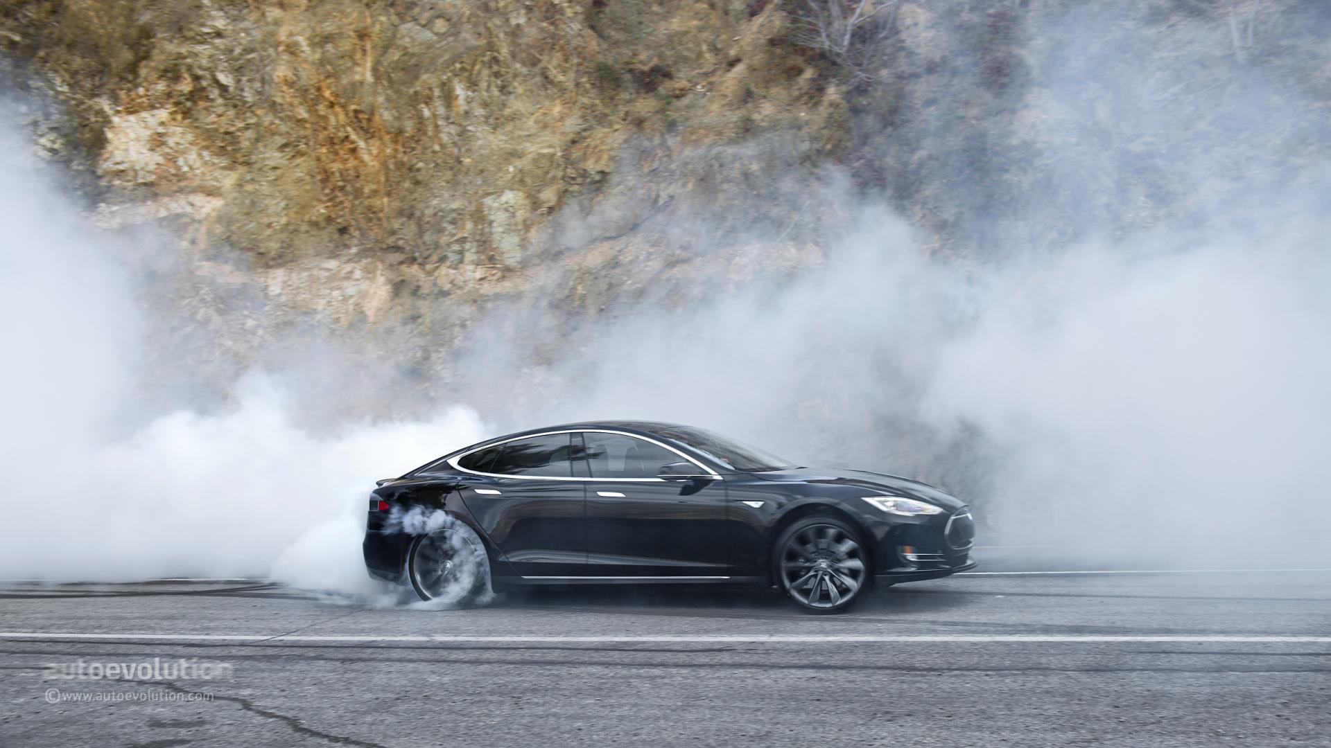 tesla model s doing monster burnouts: hd wallpapers - autoevolution