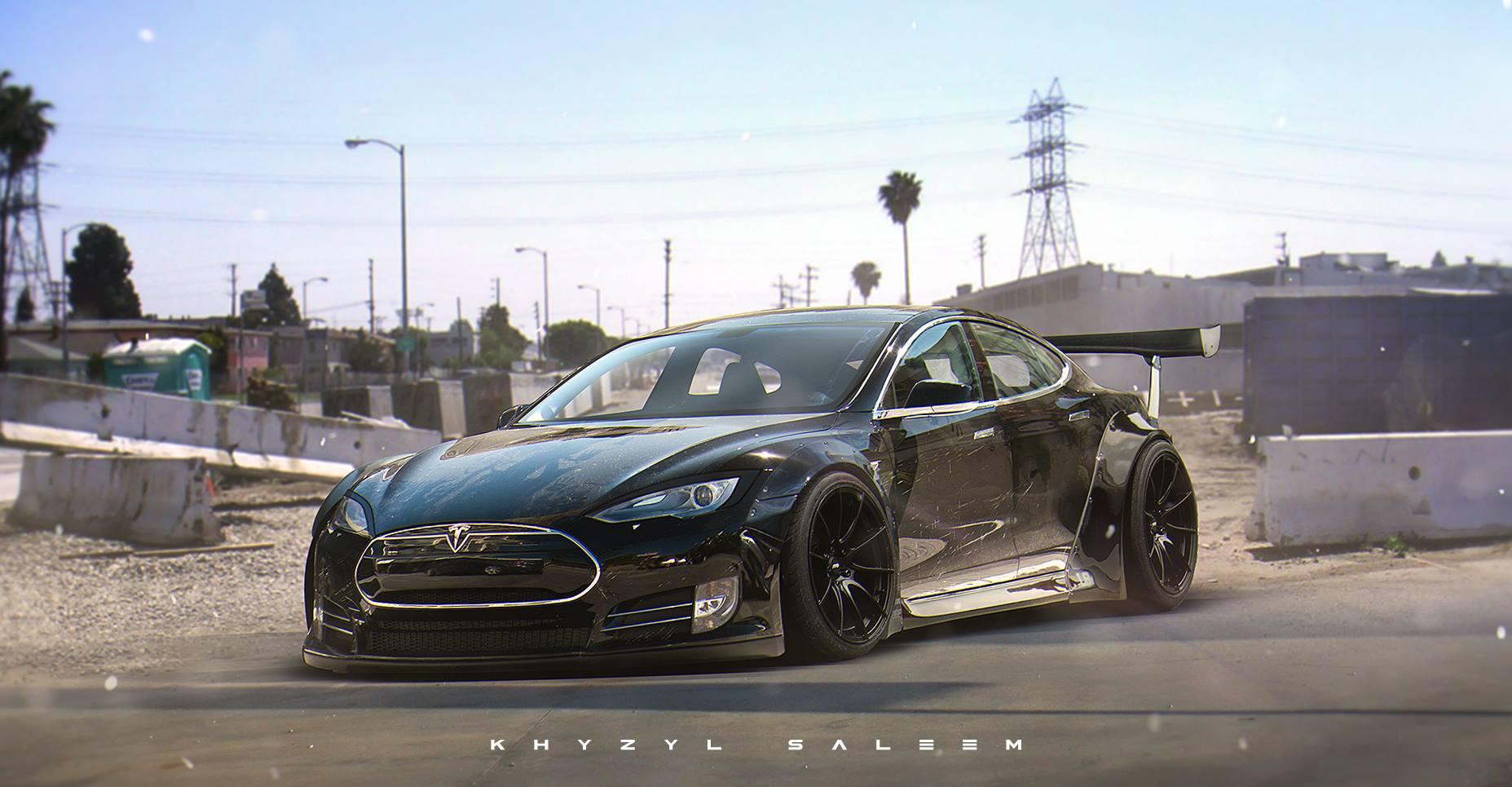 Tesla Model S With Liberty Walk Kit Looks Electrifying