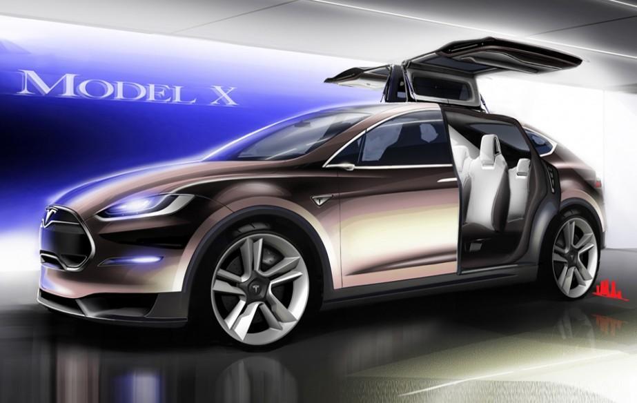 tesla model x crossover revealed has falcon doors autoevolution. Black Bedroom Furniture Sets. Home Design Ideas