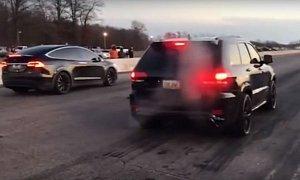 Tesla Model X P100D Drag Races Jeep Grand Cherokee Trackhawk, Gets Destroyed