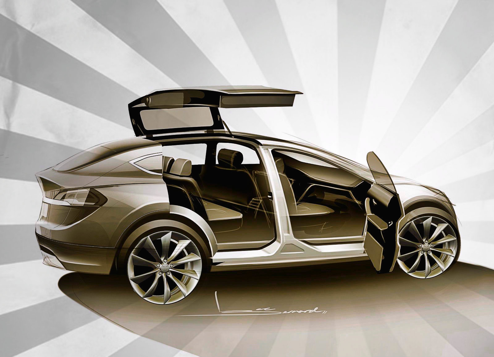 tesla model x confirmed with awd and falcon wing doors. Black Bedroom Furniture Sets. Home Design Ideas