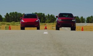 Tesla Model Y Drag Races Jeep Trackhawk, There Can Be Only One Winner