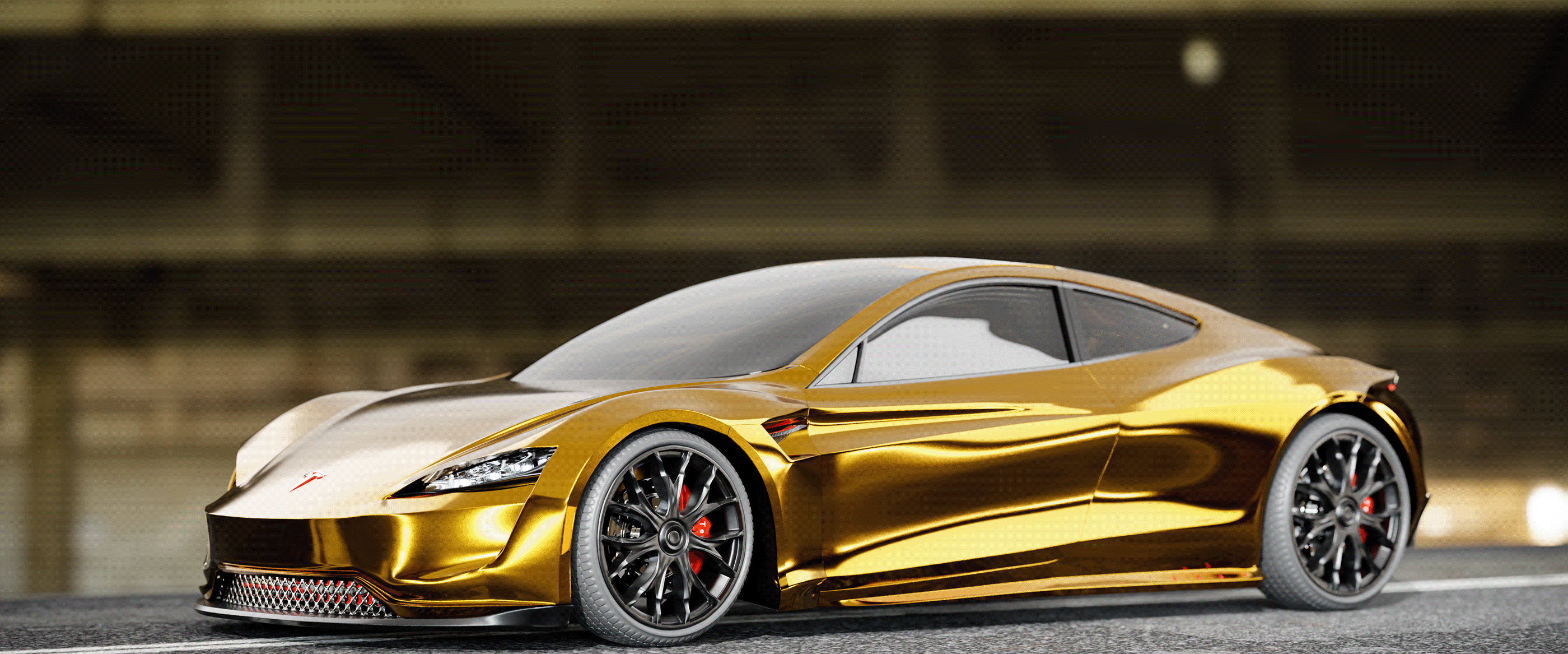 Tesla Roadster 2 0 Gets Rendered In Gold For A Sheik S Pleasure Autoevolution