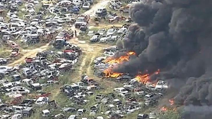 Texas Brush Fire Sparks Massive Junkyard Blaze Autoevolution
