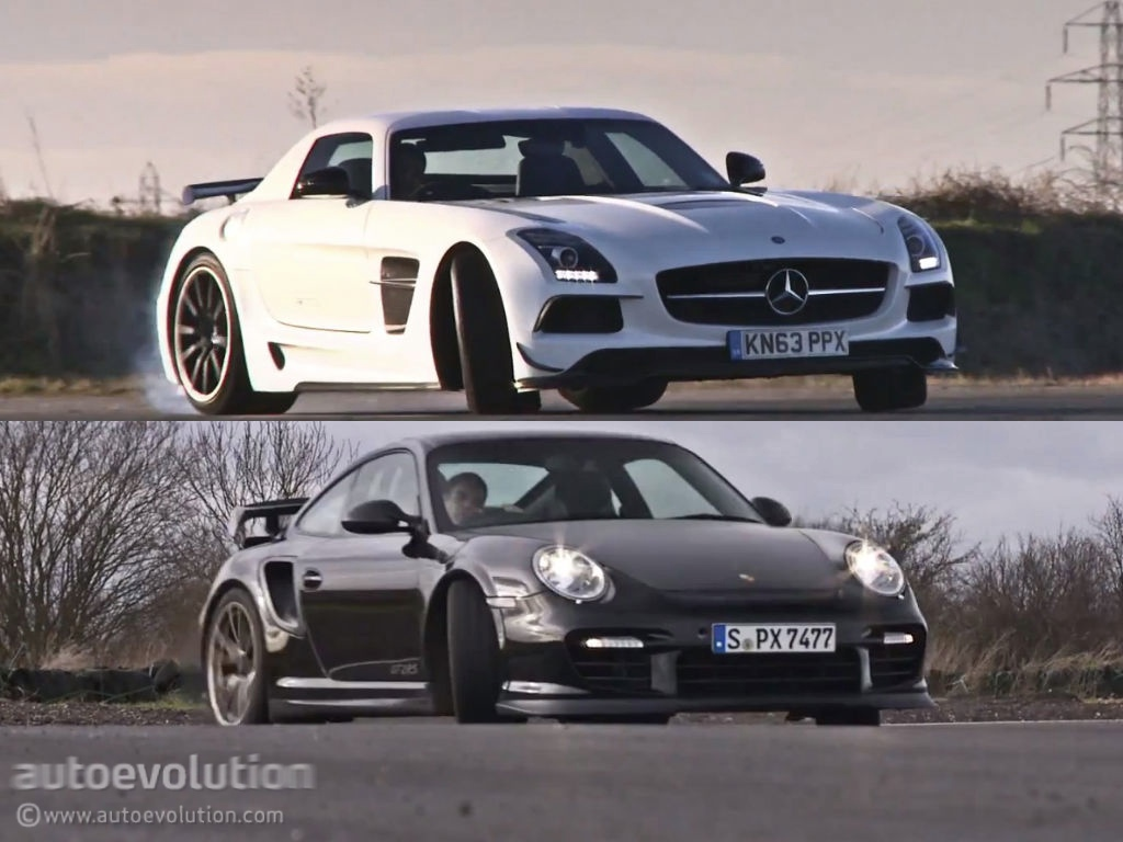 the sls amg black series goes against the porsche 911 gt2 rs autoevolution. Black Bedroom Furniture Sets. Home Design Ideas