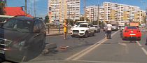 The Strangest Russian Crash Ever: Nissan GT-R, Lexus and a Sexy Blonde [Video]