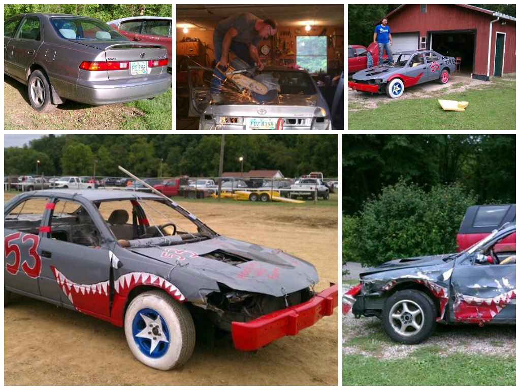 This Guy Turned An Old Camry Into A Demolition Derby Car Watch The Crash Pics on Toyota Camry Engine Paint
