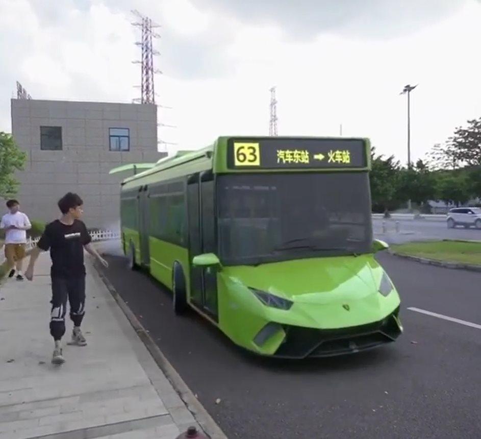 Drifting Lamborghini Bus Is The Coolest Scissor Doors