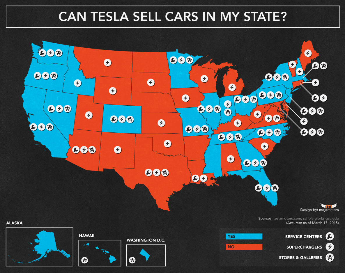 This Map Shows Where You Can or Cannot Directly Buy a Tesla ...