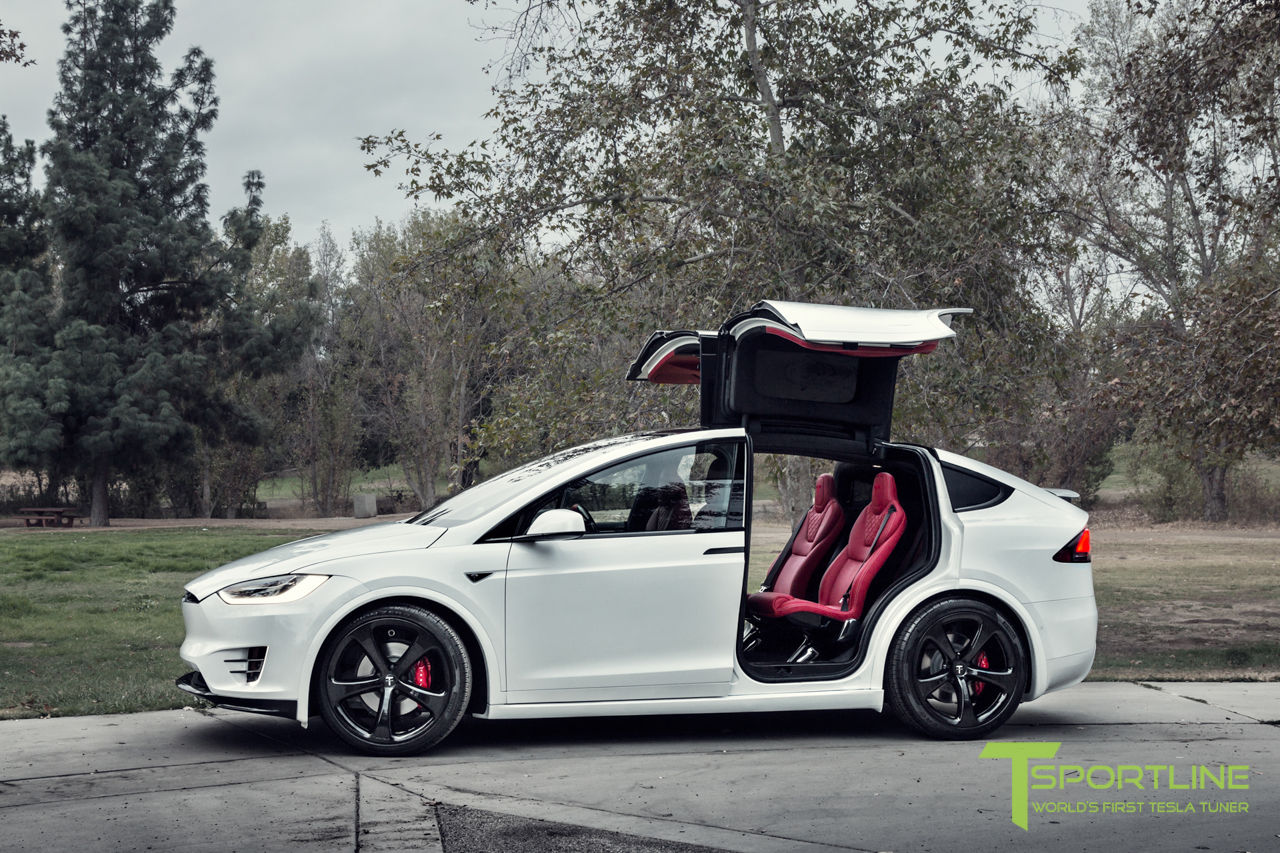 This Tesla Model X Has A Bespoke Bentley Red Leather Interior ...