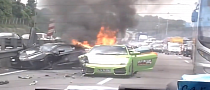 Three Lamborghinis Burn in Malaysia Crash [Video]