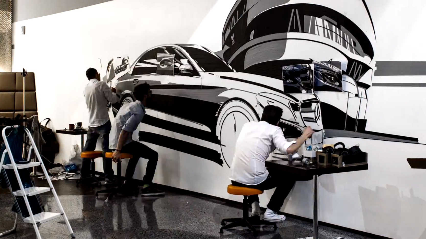"""Three Men """"Painting"""" the New C-Class with Tape Is Cool - autoevolution"""