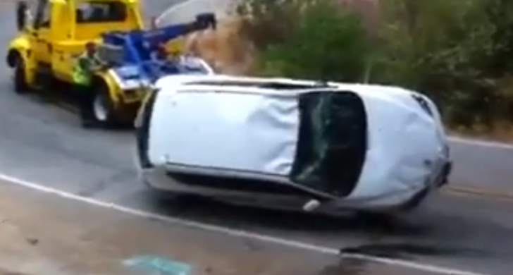 Towing a Flipped Mazda Goes Horribly Wrong [Video]