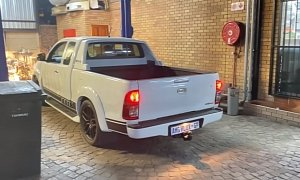 Toyota Hilux With Mercedes-AMG V8 Engine Sounds Brutal, Likes Smoky Burnouts