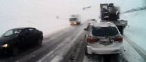 Truck Driver Does Not Brake in Time on Icy Road [Video]