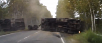 Truck Flips Over, Narrowly Missing the Car [Video]