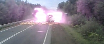 Truck With No Brakes Causes Massive Accident and Explosions [Video]