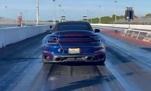Tuned 2021 Porsche 911 Turbo S Cabriolet Does 9s 1/4-Mile Run, Veers a Little
