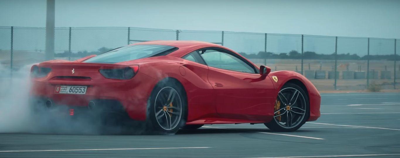 A Ferrari logo is seen on the back hood of a Ferrari 488 GTB ...