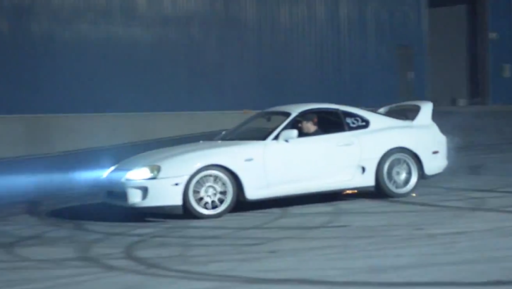 Tuned Toyota Supra Smokes Behind the Garage [Video]