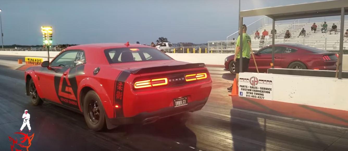 Twin-Turbo Mustang GT Drag Races Dodge Demon, Destruction Occurs