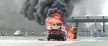 Two Cars Burn on A1 and A2 Highways in Romania