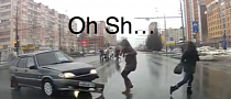 Two Lucky Pedestrians Narrowly Avoid Crash [Video]