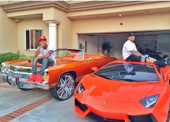 Tyga And Chris Brown Hanging Out On Lambo And Impala Old School Vs
