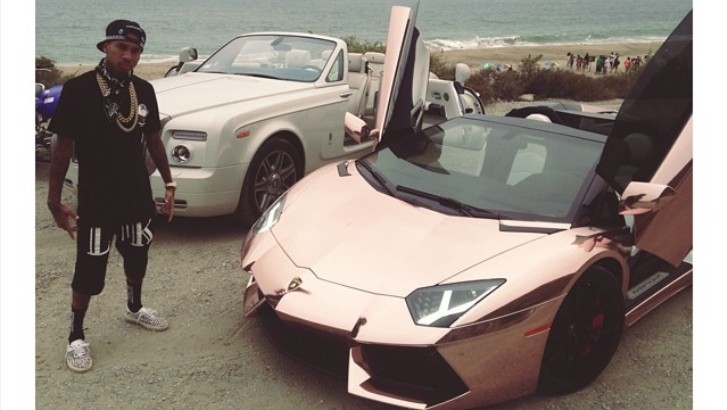 Tyga Poses Next To His Aventador And Phantom Shooting New