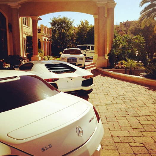 Tyga Shows All-White Car Collection: SLS, Aventador, Rolls ...