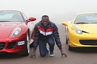 Usain Bolt in Maranello, making acquaintance with the Ferrari cars