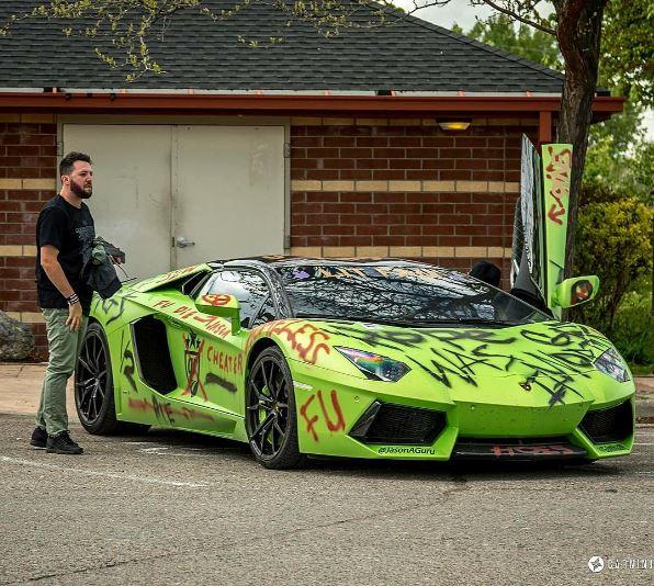 Vandalized Lamborghini Aventador