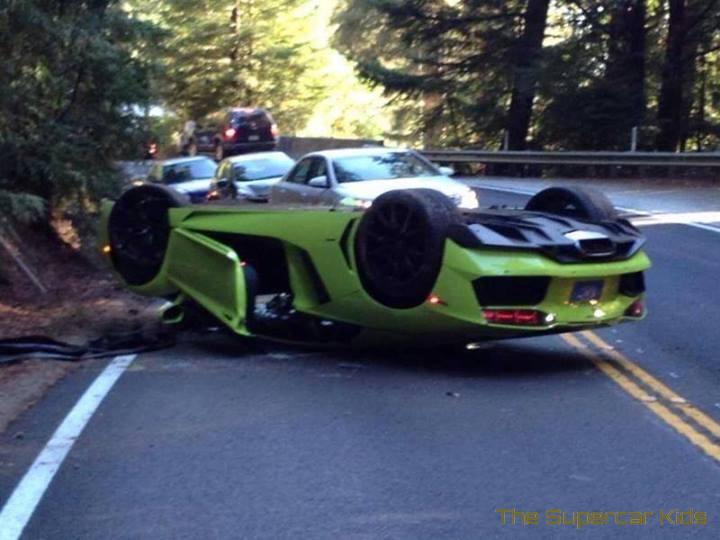 Verde Scandal Lamborghini Aventador Flips Over In California