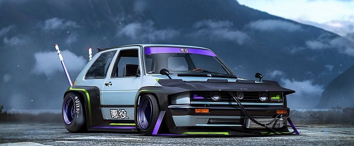 Volkswagen Golf Mk II Goes All Bosozoku in This JDM-Cool Rendering - autoevolution