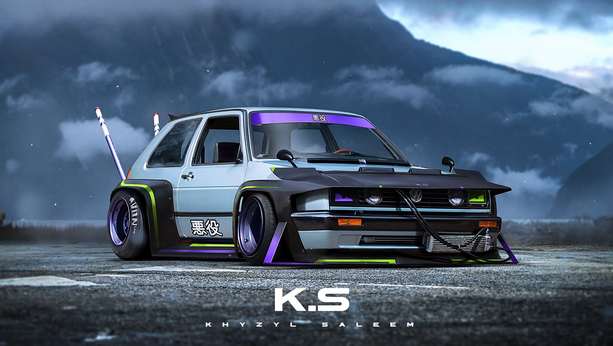 Volkswagen golf mk ii goes all bosozoku in this jdm cool rendering