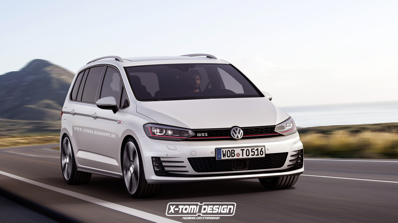 volkswagen touran gti rendering looks awkwardly good autoevolution. Black Bedroom Furniture Sets. Home Design Ideas