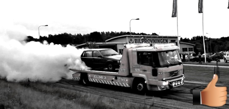 Volvo 750 Does Burnout While On a Tow Truck! [Video]