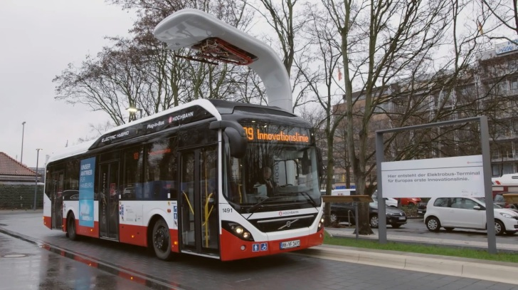volvo starts testing first electric hybrid bus in hamburg. Black Bedroom Furniture Sets. Home Design Ideas
