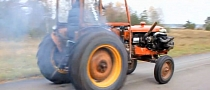 Volvo Terror: Tractor with Engine from Volvo 240 Turbo Goes Drifting [Video]