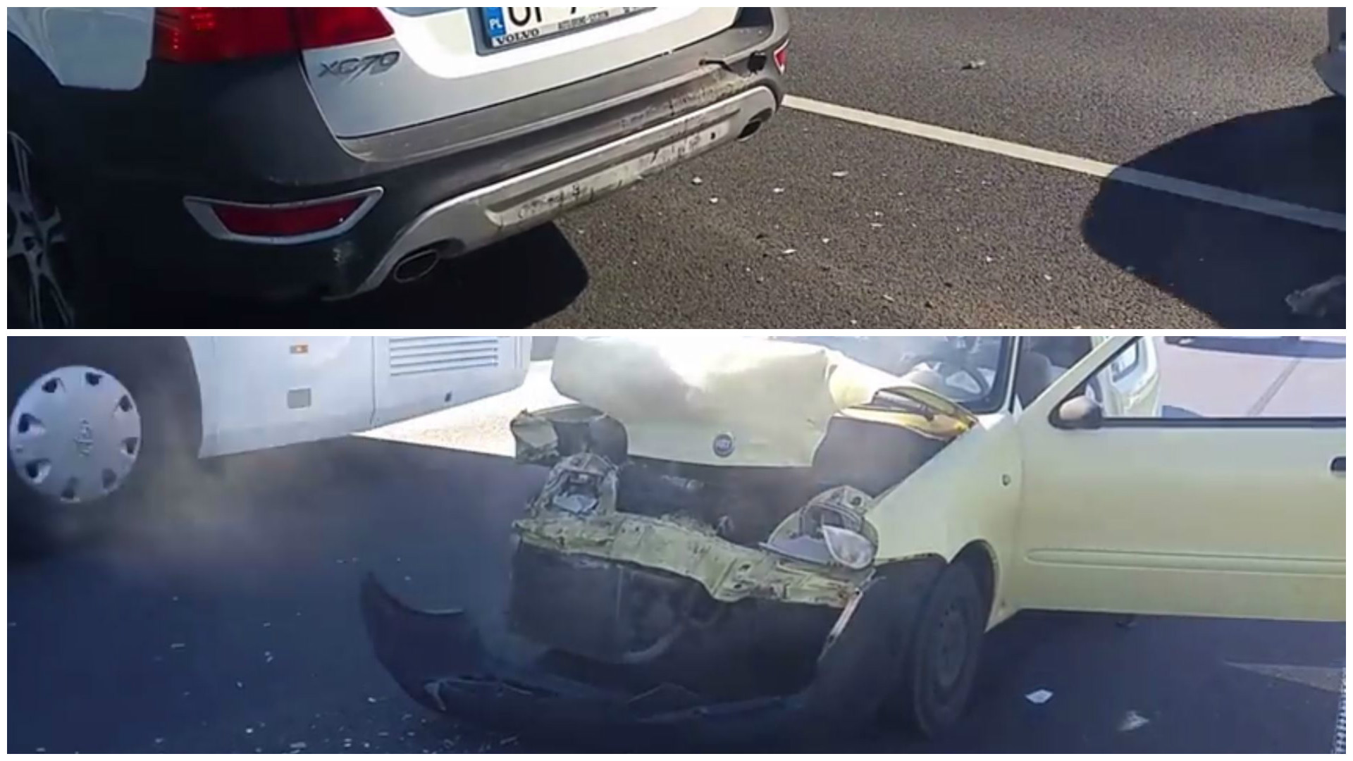 Volvo Xc70 Looks Unharmed After Crash That Leaves Fiat A