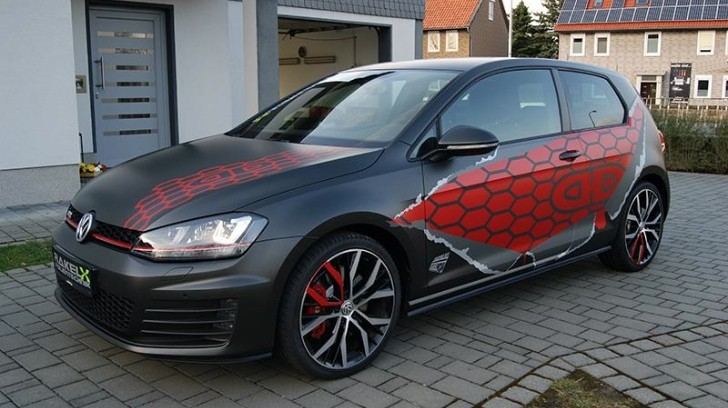 VW Golf 7 GTI Gets Red Honeycomb Wrap in Germany ...