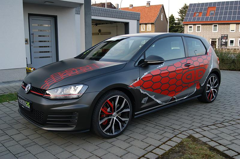 vw golf 7 gti gets red honeycomb wrap in germany. Black Bedroom Furniture Sets. Home Design Ideas