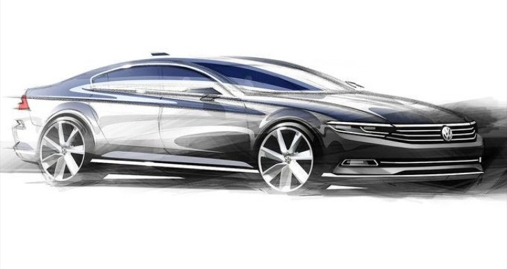 vw reveals first 2015 passat sketches and 240 hp 2 0 tdi twin turbo autoevolution. Black Bedroom Furniture Sets. Home Design Ideas